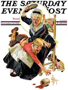 """""""In a Jam,"""" Saturday Evening Post Cover, November 28, 1931 by Joseph Christian Leyendecker"""