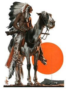 """Indian Sunset,""March 17, 1923 by Joseph Christian Leyendecker"