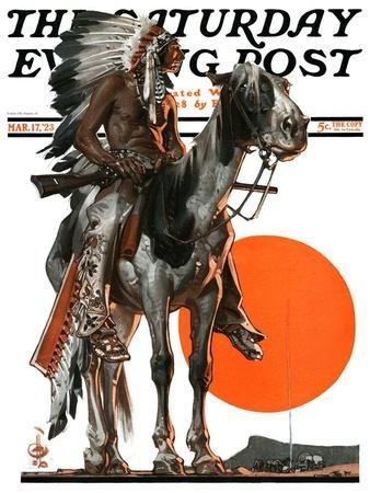 """Indian Sunset,"" Saturday Evening Post Cover, March 17, 1923"
