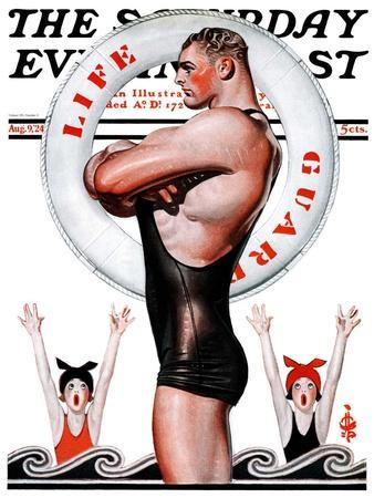 """""""Lifeguard, Save Me!,"""" Saturday Evening Post Cover, August 9, 1924"""