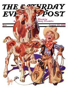 """Little Cowboy Takes a Licking,"" Saturday Evening Post Cover, August 20, 1938 by Joseph Christian Leyendecker"