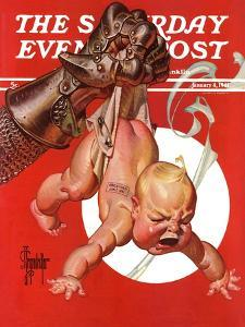 """""""New Year and Warring Fist,"""" Saturday Evening Post Cover, January 4, 1941 by Joseph Christian Leyendecker"""