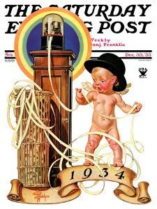 """New Year Tickertape,"" Saturday Evening Post Cover, December 30, 1933 by Joseph Christian Leyendecker"
