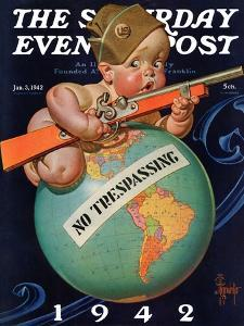 """No Trespassing,"" Saturday Evening Post Cover, January 3, 1942 by Joseph Christian Leyendecker"