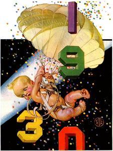 """Parachuting Baby New Year,""December 28, 1929 by Joseph Christian Leyendecker"