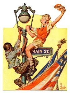 """Parade View from Lamp Post,""July 3, 1937 by Joseph Christian Leyendecker"