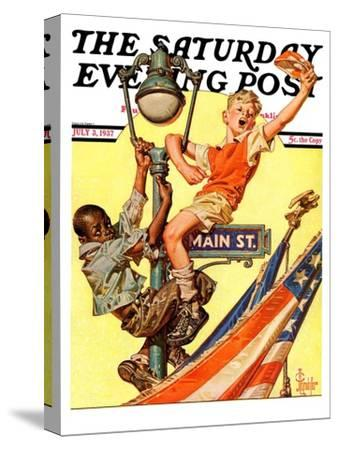 """Parade View from Lamp Post,"" Saturday Evening Post Cover, July 3, 1937"