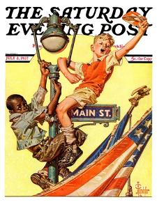 """Parade View from Lamp Post,"" Saturday Evening Post Cover, July 3, 1937 by Joseph Christian Leyendecker"