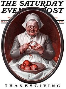 """Peeling Apples,"" Saturday Evening Post Cover, November 28, 1925 by Joseph Christian Leyendecker"