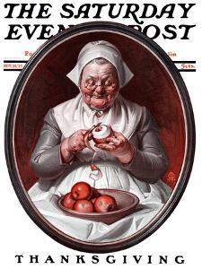 """Peeling Apples,"" Saturday Evening Post Cover, November 28, 1925 by Joseph Christian Leyendecker"