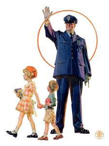"""Policeman and School Children,""October 3, 1931 by Joseph Christian Leyendecker"