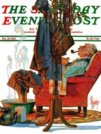 """Postman Soaking Feet,"" Saturday Evening Post Cover, December 21, 1940"