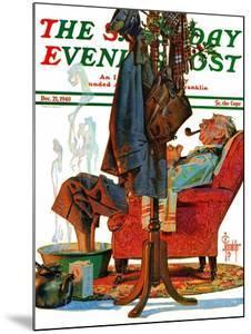 """Postman Soaking Feet,"" Saturday Evening Post Cover, December 21, 1940 by Joseph Christian Leyendecker"