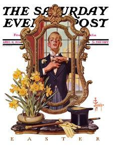 """Primping in Mirror,"" Saturday Evening Post Cover, April 11, 1936 by Joseph Christian Leyendecker"