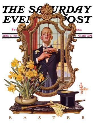 """Primping in Mirror,"" Saturday Evening Post Cover, April 11, 1936"