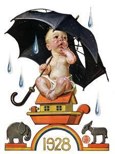 """Raining on Baby New Year,""December 31, 1927 by Joseph Christian Leyendecker"