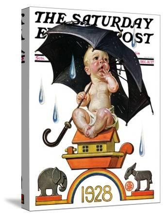 """Raining on Baby New Year,"" Saturday Evening Post Cover, December 31, 1927"