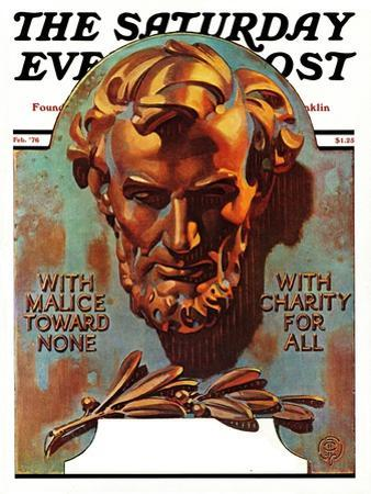 """""""Re -print of """"Bronze Lincoln"""","""" Saturday Evening Post Cover, February 1, 1976"""