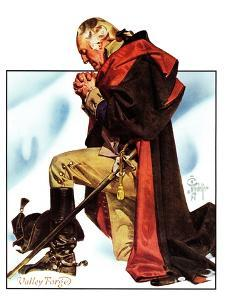 """Re-print of ""George Washington at Valley Forge"","" November 1, 1975 by Joseph Christian Leyendecker"