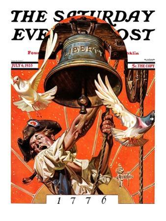 """""""Ringing Liberty Bell,"""" Saturday Evening Post Cover, July 6, 1935 by Joseph Christian Leyendecker"""