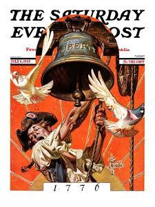 """Ringing Liberty Bell,"" Saturday Evening Post Cover, July 6, 1935 by Joseph Christian Leyendecker"