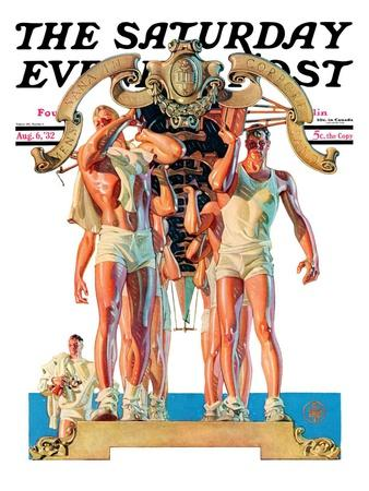 """Rowing Team,"" Saturday Evening Post Cover, August 6, 1932"