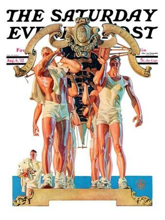 """""""Rowing Team,"""" Saturday Evening Post Cover, August 6, 1932"""