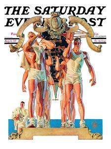 """Rowing Team,"" Saturday Evening Post Cover, August 6, 1932 by Joseph Christian Leyendecker"