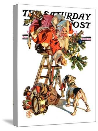 """Santa Up a Ladder,"" Saturday Evening Post Cover, December 20, 1930"