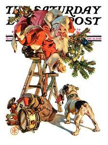 """Santa Up a Ladder,"" Saturday Evening Post Cover, December 20, 1930 by Joseph Christian Leyendecker"