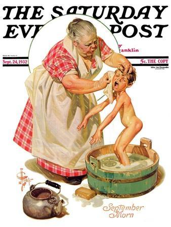 """Saturday Night Bath,"" Saturday Evening Post Cover, September 24, 1932"