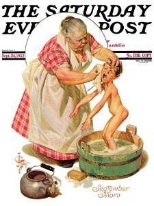 """Saturday Night Bath,"" Saturday Evening Post Cover, September 24, 1932 by Joseph Christian Leyendecker"