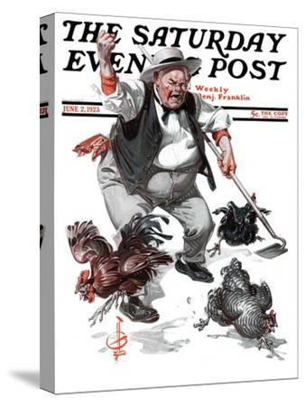 """""""Shoo Chickens !,"""" Saturday Evening Post Cover, June 2, 1923"""