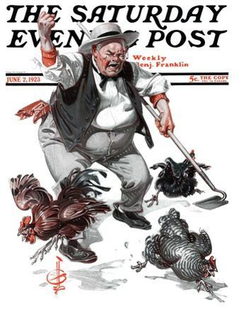 """Shoo Chickens !,"" Saturday Evening Post Cover, June 2, 1923"