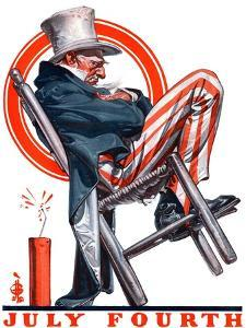 """Sleeping Uncle Sam,""July 5, 1924 by Joseph Christian Leyendecker"
