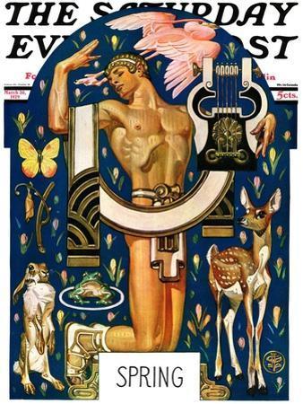 """""""Spring 1929,"""" Saturday Evening Post Cover, March 30, 1929 by Joseph Christian Leyendecker"""