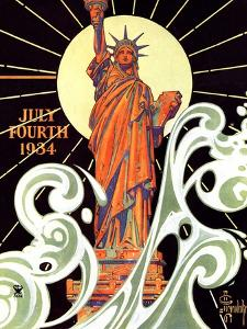 """Statue of Liberty,""July 7, 1934 by Joseph Christian Leyendecker"