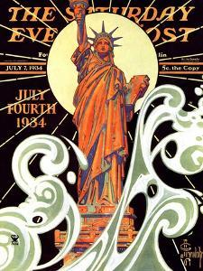 """Statue of Liberty,"" Saturday Evening Post Cover, July 7, 1934 by Joseph Christian Leyendecker"