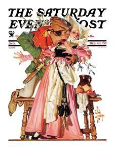 """Stealing a Christmas Kiss,"" Saturday Evening Post Cover, December 23, 1933 by Joseph Christian Leyendecker"