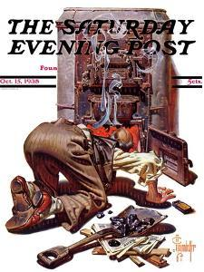"""Stoking the Furnace,"" Saturday Evening Post Cover, October 15, 1938 by Joseph Christian Leyendecker"