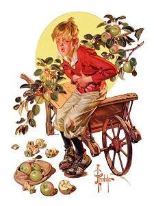 """""""Too Many Green Apples,""""September 16, 1933 by Joseph Christian Leyendecker"""