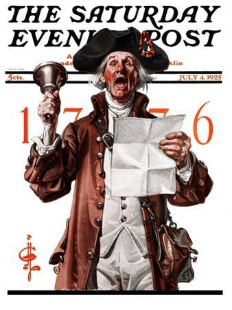 """""""Town Crier,"""" Saturday Evening Post Cover, July 4, 1925 by Joseph Christian Leyendecker"""