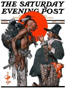 """Trading for a Turkey,"" Saturday Evening Post Cover, December 1, 1923 by Joseph Christian Leyendecker"