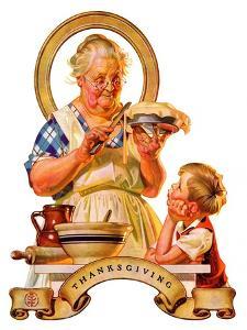 """Trimming the Pie,""November 23, 1935 by Joseph Christian Leyendecker"