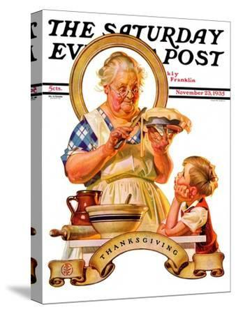 """""""Trimming the Pie,"""" Saturday Evening Post Cover, November 23, 1935"""
