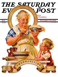 """""""Trimming the Pie,"""" Saturday Evening Post Cover, November 23, 1935 by Joseph Christian Leyendecker"""