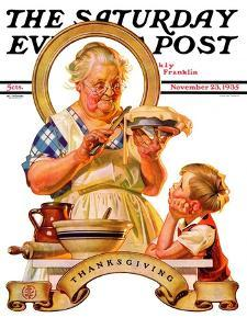 """Trimming the Pie,"" Saturday Evening Post Cover, November 23, 1935 by Joseph Christian Leyendecker"