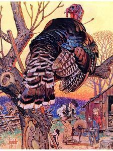 """Turkey in the Tree,""November 25, 1939 by Joseph Christian Leyendecker"