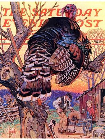"""Turkey in the Tree,"" Saturday Evening Post Cover, November 25, 1939"