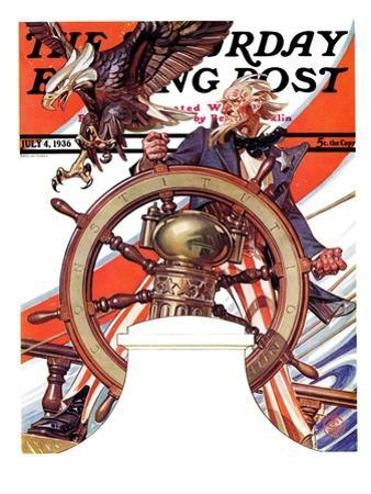 """Uncle Sam at the Helm,"" Saturday Evening Post Cover, July 4, 1936"